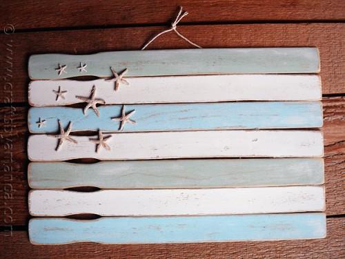painted sticks beach flag