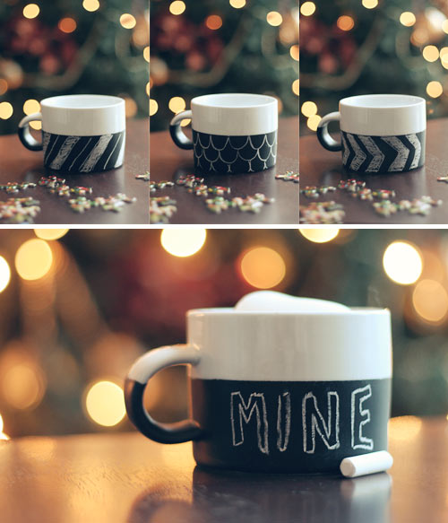 patterned chalkboard mugs (via witandwhistle)