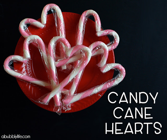 candy cane hearts as party favors