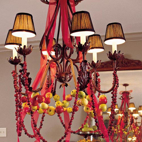 Apple and cranberry Christmas chandelier