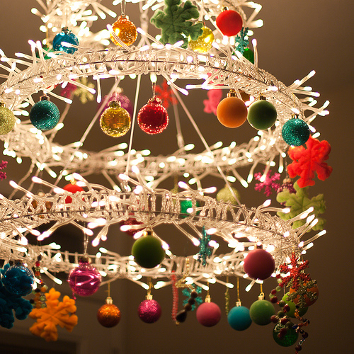 Christmas chandelier of IKEA lights (via flickr)