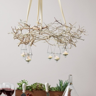 branch christmas chandelier via casa diseno blog - Christmas Tree Branch Decorations