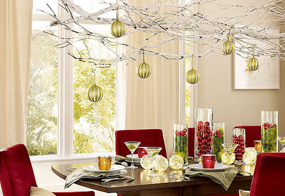 Natural branches Christmas chandelier