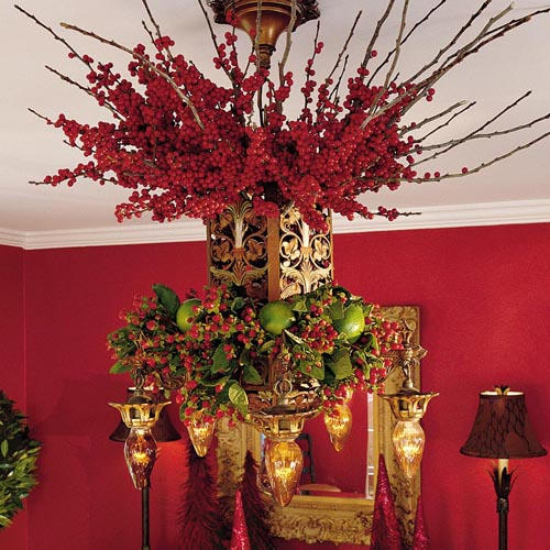 merry and bright chandelier via southernliving - How To Decorate A Chandelier For Christmas