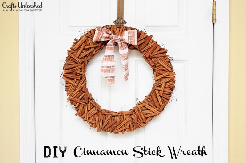 glued cinnamon sticks wreath