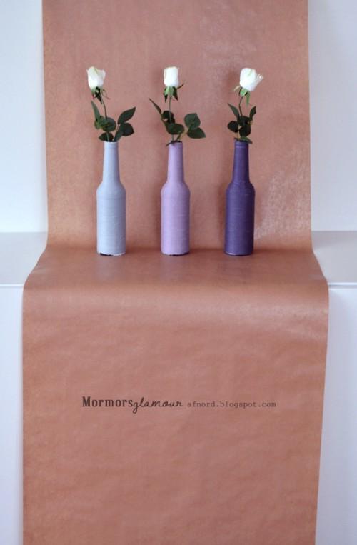 yarn beer bottle vase (via shelterness)