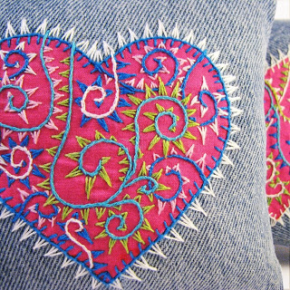 denim embroidered pillow (via windyriver)