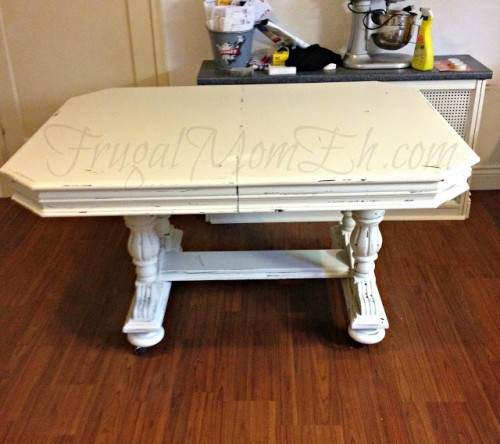 distressed dining  table (via frugalmomeh)
