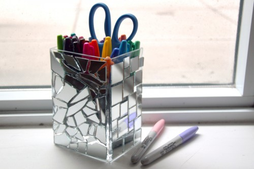 mirror mosaic pencil holder (via shelterness)