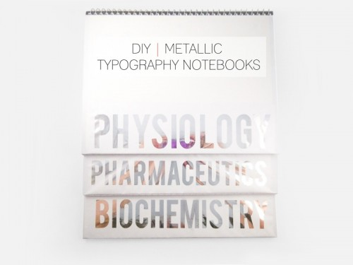 metallic typography notebooks (via cafecraftea)