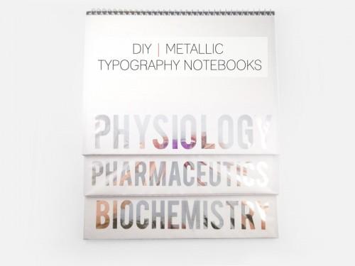 metallic typography notebooks (via cafecraftea)