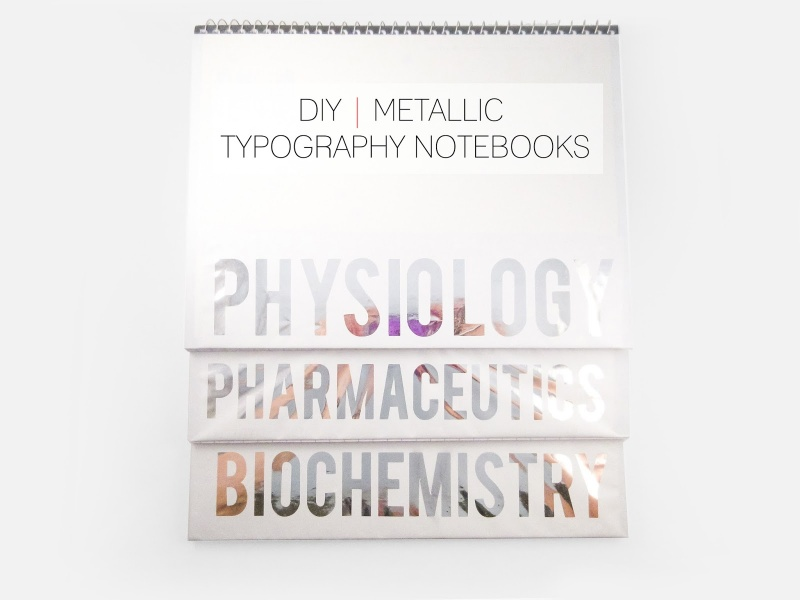 metallic typography notebooks