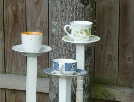 vintage tea cup bird feeders