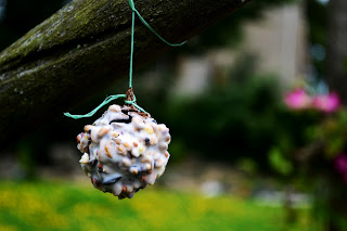 fir cone bird feeder (via dragonflybluecraft)