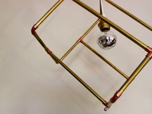 geometric brass pipe pendant
