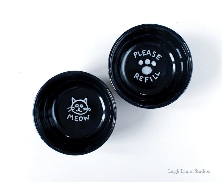 painted porcelain cat bowls