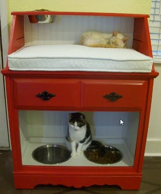 secretary desk turned into a pet station (via addicted2decorating)