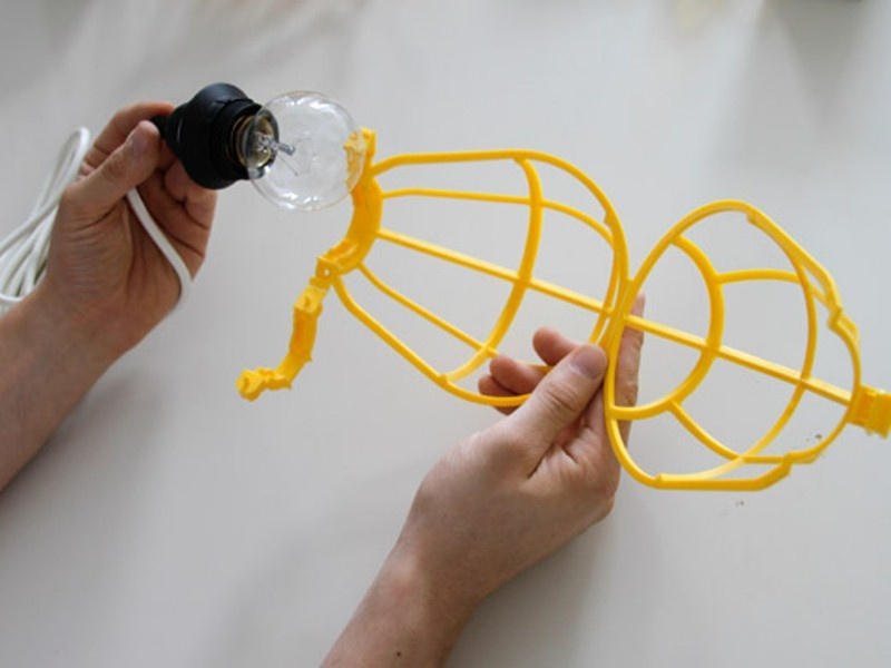 Cool Diy Chandelier Of Bulbs And Cages