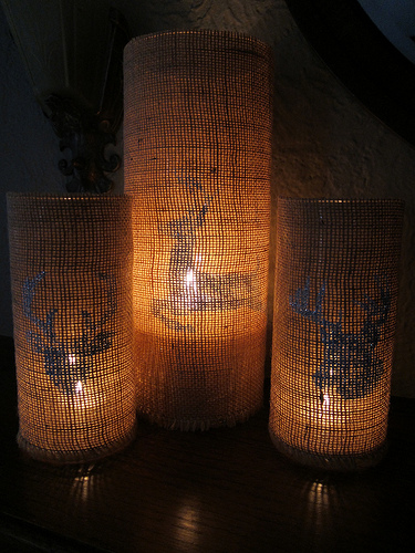 stenciled burlap candle holders