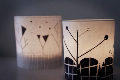 illustrated candle holders (via blog)