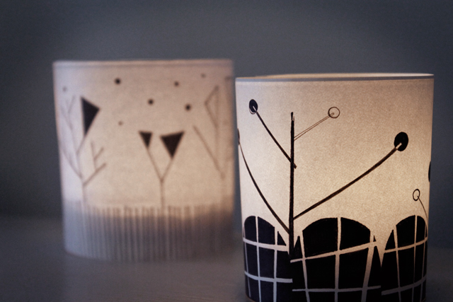 illustrated candle holders