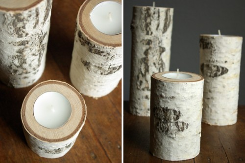 diy birch wood candle holders