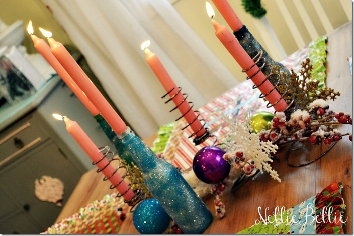 glitter bottle candle holders