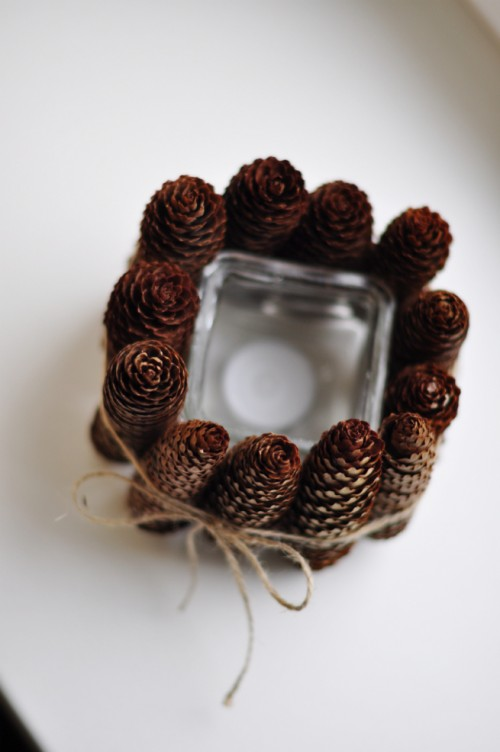 pine cone candle holders via sheepy - Christmas Candle Holders Decorations
