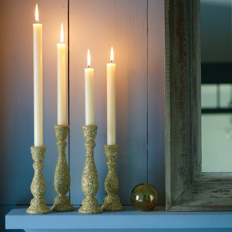 golden glitter candle holder (via marthastewart)