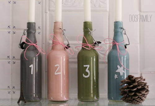 painted advent candle holders (via )