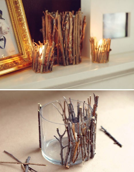 holiday twig candle holder