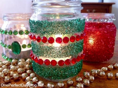 glitter tealight candle holders (via )