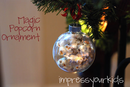 homemade magic popcorn christmas ornament via impressyourkids