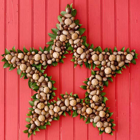 DIY Nut Star Christmas Wreath