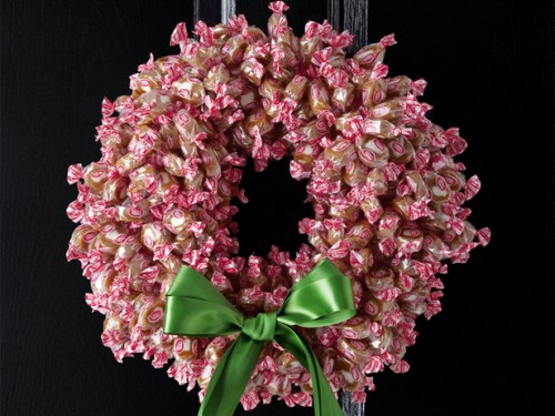 DIY Wrapped Candy Christmas Wreath (via foodnetwork)