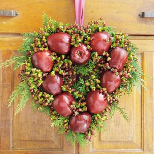 Homemade Apple Heart Wreath