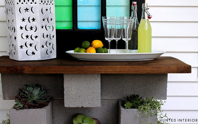 planter and bar of concrete and wood