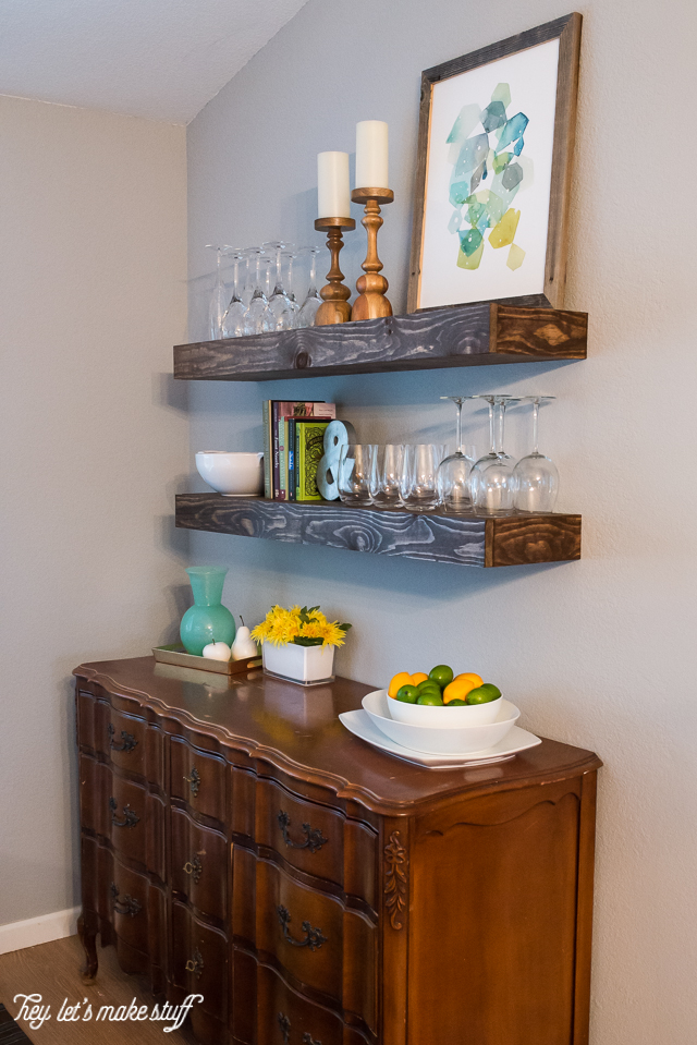 Picture Of cool diy dining room floating shelves  2