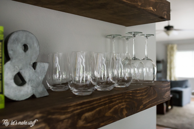 Picture Of cool diy dining room floating shelves  5