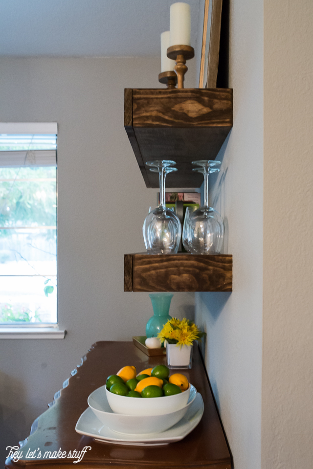Picture Of cool diy dining room floating shelves  6