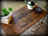stained and stenciled table makeover