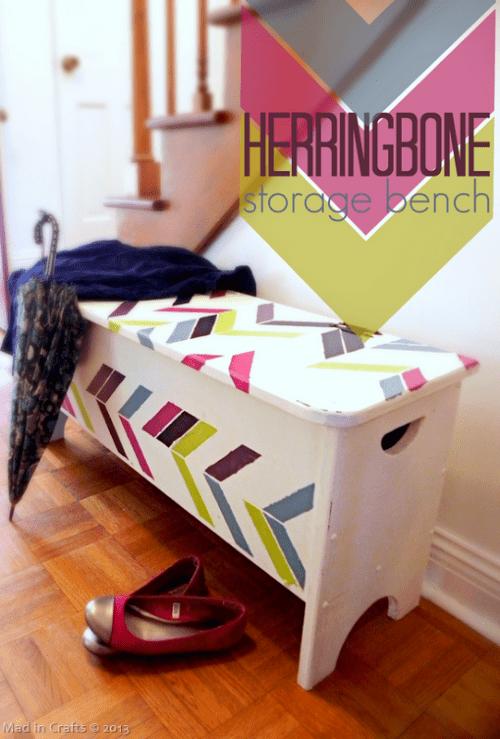 stenciled herringbone bench (via madincrafts)