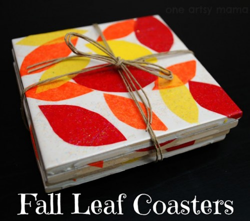 colorful leaf tile coasters (via oneartsymama)