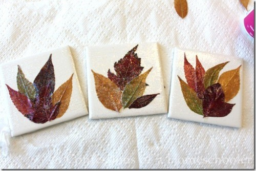 bathroom tiles leaf coasters (via confessionsofahomeschooler)