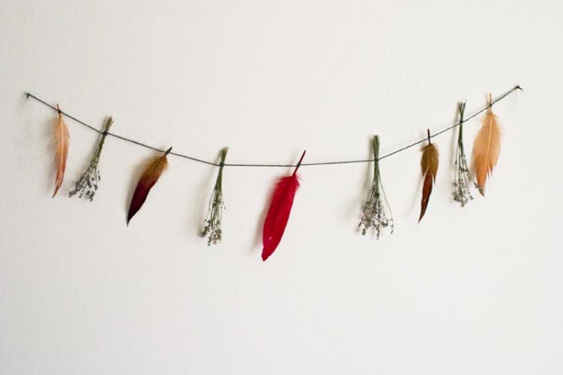 feather and lavender garland
