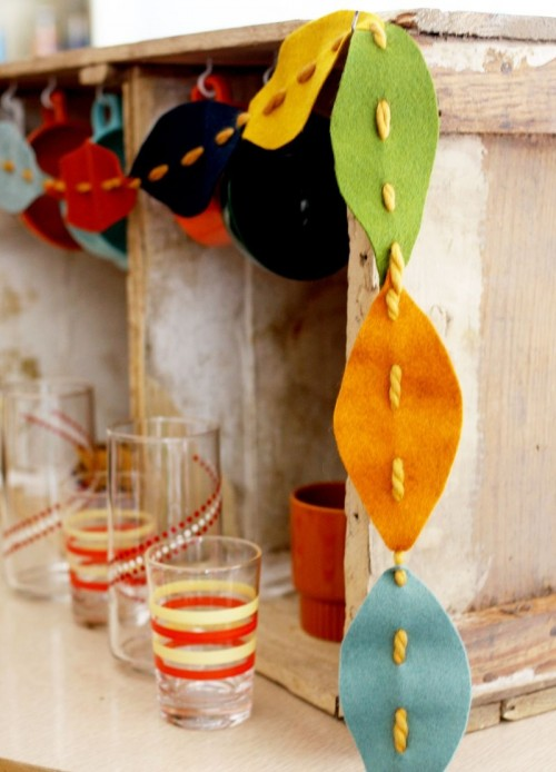 colorful felt fall leaves garland