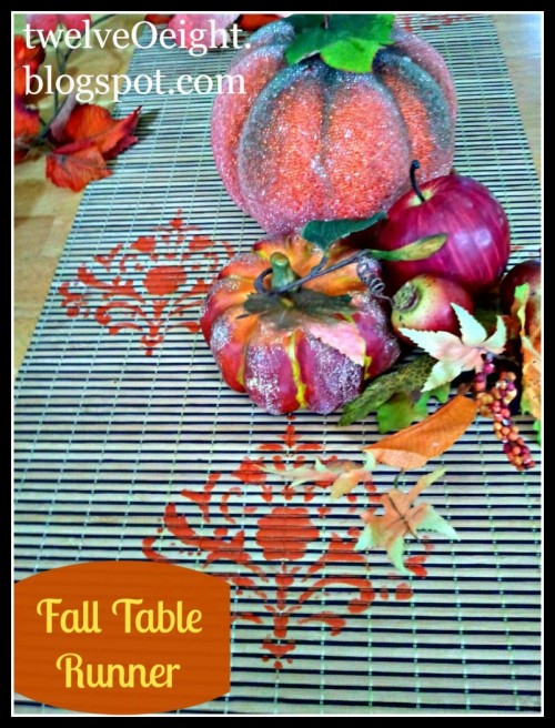 fall table runner with leaf prints (via momitforward)