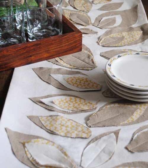 rustic fall leaf table runner (via hgtv)