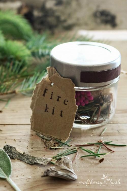 birch bark and needles fire starter kit (via craftberrybush)
