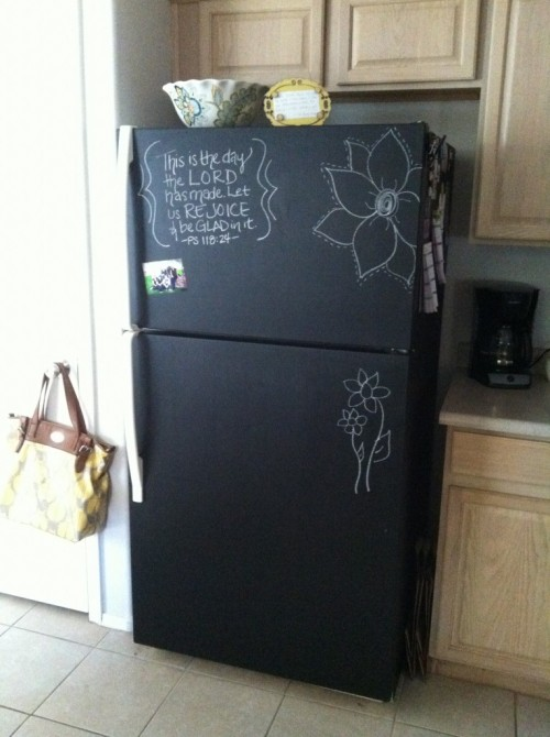chalkboard fridge makeover
